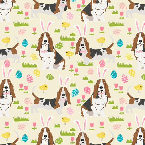 basset hound easter fabric cute spring pastel dogs design - cream fabric by petfriendly on Spoonflower - custom fabric