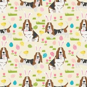 basset hound easter fabric cute spring pastel dogs design - cream