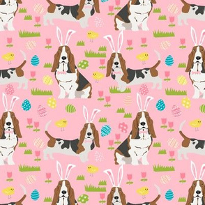 basset hound easter fabric cute spring pastel dogs design - pink