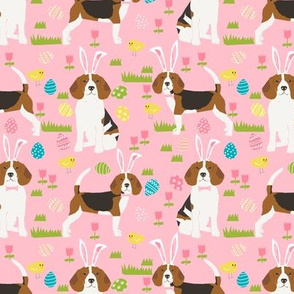 beagle dog easter fabric cute spring pastel dogs design - pink