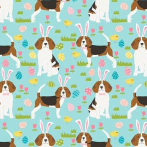 beagle dog easter fabric cute spring pastel dogs design - blue