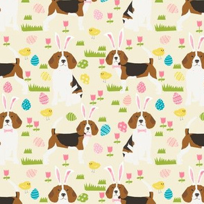 beagle dog easter fabric cute spring pastel dogs design - cream