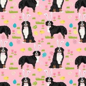 bernese mountain dog easter fabric cute spring pastel dogs design - pink
