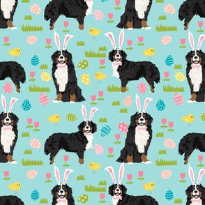 bernese mountain dog easter fabric cute spring pastel dogs design - blue