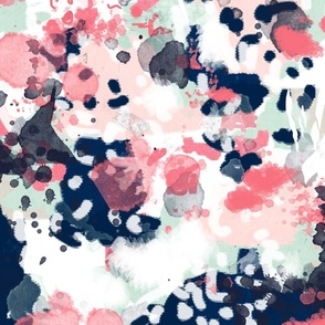 ellie abstract coral navy mint pink girls abstract fabric painterly