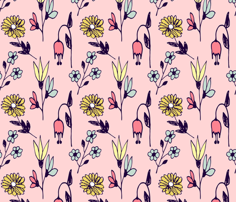 Floral informal on dusty rose fabric by sara_gerrard on Spoonflower - custom fabric