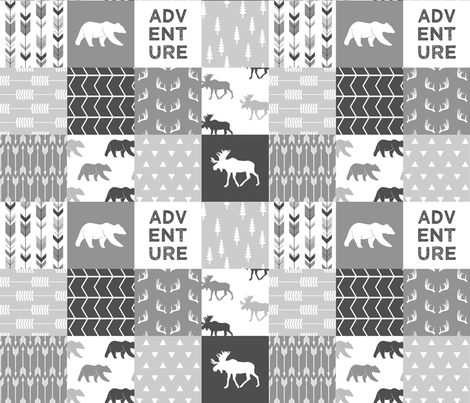 Adventure Woodland Wholecloth  || grey fabric by littlearrowdesign on Spoonflower - custom fabric