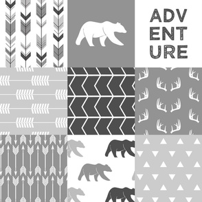 Adventure Woodland Wholecloth  || grey
