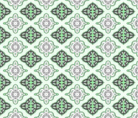Medallion Waves- Green fabric by essieofwho on Spoonflower - custom fabric
