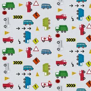 cars and trucks - gray linen