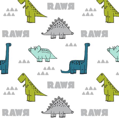 modern dino (small scale) w/ RAWR  fabric by littlearrowdesign on Spoonflower - custom fabric