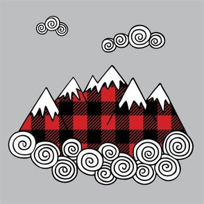 "8"" Quilt block - Mountains in buffalo plaid"