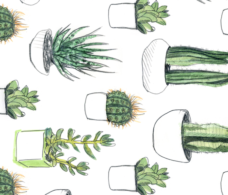 Watercolour Cacti & Succulents - Large - Rotated fabric by crumpetsandcrabsticks on Spoonflower - custom fabric