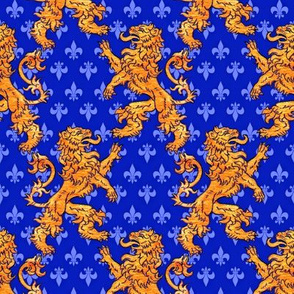 Medieval Gold Lions Fleurs on Blue