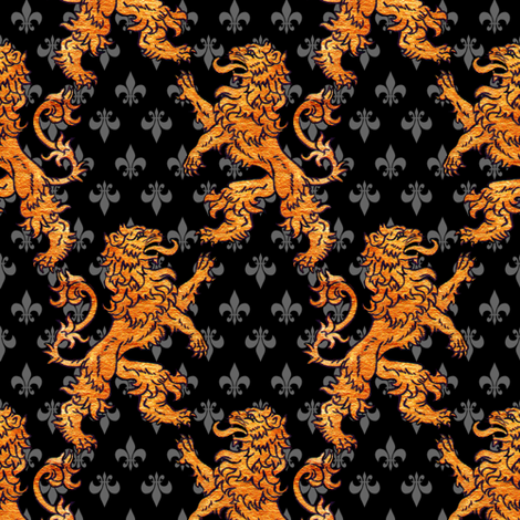 Medieval Gold Lions Fleurs Black Gray fabric by linda_baysinger_peck on Spoonflower - custom fabric