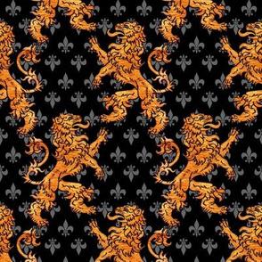 Medieval Gold Lions Fleurs Black Gray