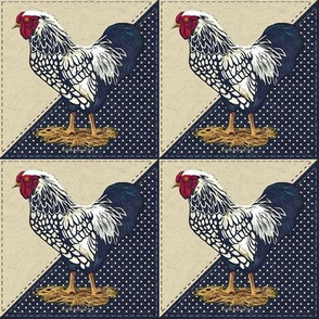 Silver Laced Wyandotte Rooster Dots on Navy