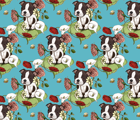 Boston Terrier Puppy Posie with flowers and bees on teal fabric by micklyn on Spoonflower - custom fabric