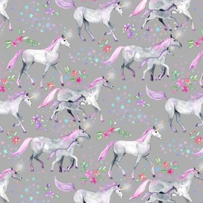 Tiny Unicorns and Stars on Soft Grey with Pink and Purple