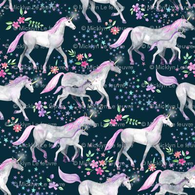 Tiny Unicorns and Stars on Dark with Pink and Purple