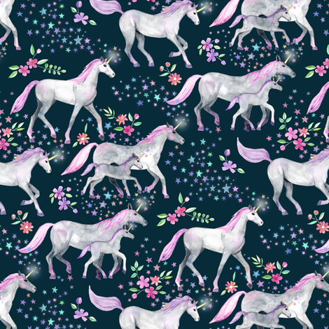 Tiny Unicorns and Stars on Dark with Pink and Purple fabric by micklyn on Spoonflower - custom fabric