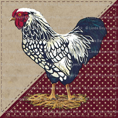 Silver Laced Wyandotte Rooster Dots Barn Red Triangles