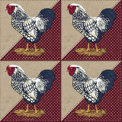 Silver Laced Wyandotte Rooster Dots Barn Red Triangles fabric by linda_baysinger_peck on Spoonflower - custom fabric