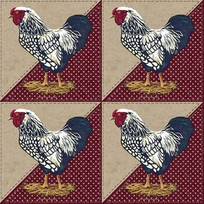 Silver Laced Wyandotte Rooster Dots Barn Red