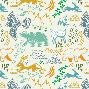 Mountain animals - bear, deer, hare, eagle