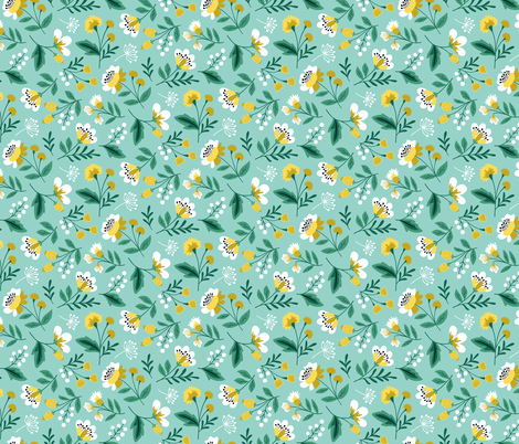 Small colorful spring flowers yellow on mint fabric by heleen_vd_thillart on Spoonflower - custom fabric