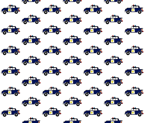 Police car 3 - on white fabric by drapestudio on Spoonflower - custom fabric