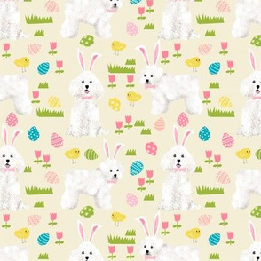 bichon easter fabric spring pastel dogs design - cream