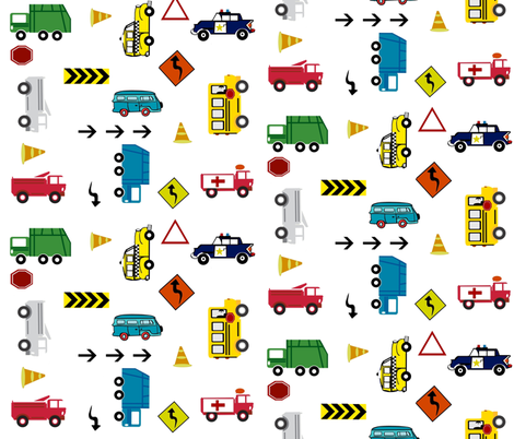 cars & trucks  multi-metro fabric by drapestudio on Spoonflower - custom fabric