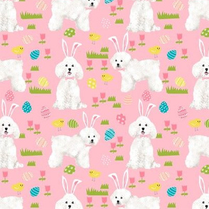 bichon easter fabric spring pastel dogs design - pink