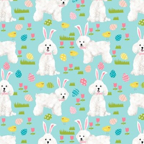 bichon easter fabric spring pastel dogs design - blue