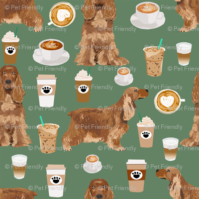 cocker spaniel coffee fabric dogs and lattes design - medium green