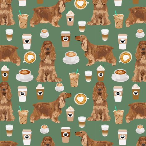 cocker spaniel coffee fabric dogs and lattes design - medium green fabric by petfriendly on Spoonflower - custom fabric