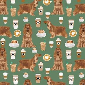 cocker spaniel coffee fabric dogs and lattes design - medium green