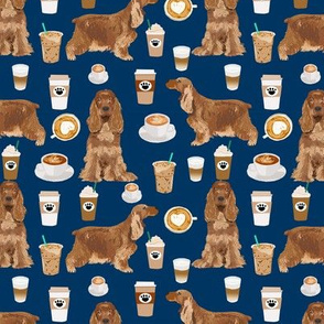 cocker spaniel coffee fabric dogs and lattes design - navy