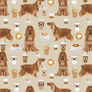 cocker spaniel coffee fabric dogs and lattes design - sand