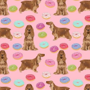 cocker spaniel donuts food design cocker spaniel pattern fabric - pink