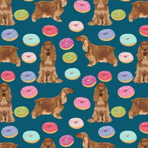 cocker spaniel donuts food design cocker spaniel pattern fabric - sapphire