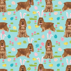 cocker spaniel pastel easter fabric spring dogs design - blue