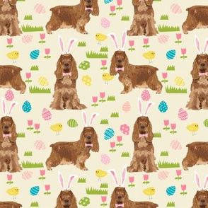 cocker spaniel pastel easter fabric spring dogs design - cream