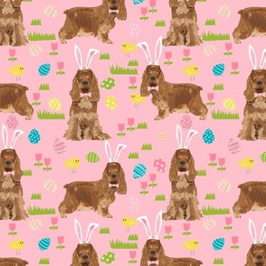 cocker spaniel pastel easter fabric spring dogs design - pink