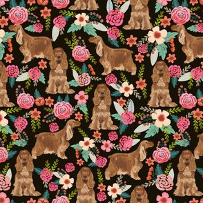 cocker spaniel florals dog fabric floral flowers dog pattern - black