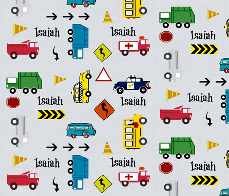cars & trucks  LARGE multi-metro gray linen- PERSONALIZED Isaiah fabric by drapestudio on Spoonflower - custom fabric