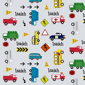 cars & trucks  LARGE multi-metro gray linen- PERSONALIZED Isaiah