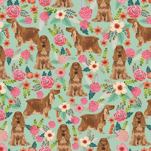 cocker spaniel florals dog fabric floral flowers dog pattern - mint