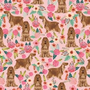 cocker spaniel florals dog fabric floral flowers dog pattern - pink